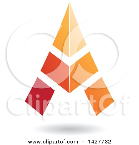 Clipart of a Triangular Orange Letter a Logo or Icon Design with a Shadow - Royalty Free Vector Illustration by cidepix