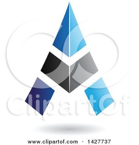 Clipart of a Triangular Blue and Black Letter a Logo or Icon Design with a Shadow - Royalty Free Vector Illustration by cidepix