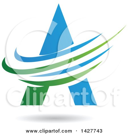 Clipart of a Triangular Blue and Green Letter a Logo or Icon Design with Swooshes and a Shadow - Royalty Free Vector Illustration by cidepix
