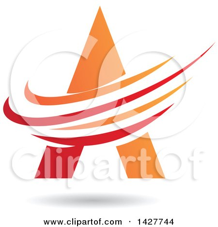 Clipart of a Triangular Red and Orange Letter a Logo or Icon Design with Swooshes and a Shadow - Royalty Free Vector Illustration by cidepix
