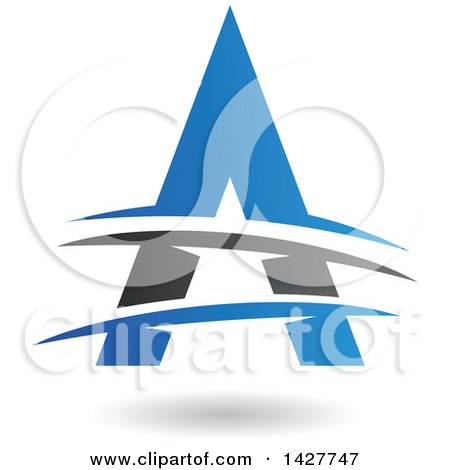 Clipart of a Triangular Blue and Black Letter a Logo or Icon Design with Lines and a Shadow - Royalty Free Vector Illustration by cidepix
