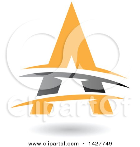 Clipart of a Triangular Gray and Yellow Letter a Logo or Icon Design with Lines and a Shadow - Royalty Free Vector Illustration by cidepix