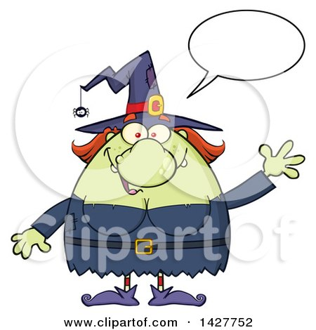 Clipart of a Cartoon Fat Green Witch Talking and Waving - Royalty Free Vector Illustration by Hit Toon