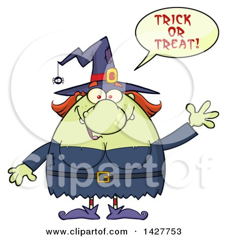 Clipart of a Cartoon Fat Green Witch Saying Trick or Treat and Waving - Royalty Free Vector Illustration by Hit Toon