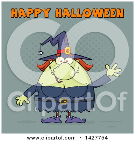 Clipart of a Cartoon Fat Green Witch Waving Under Happy Halloween Text - Royalty Free Vector Illustration by Hit Toon