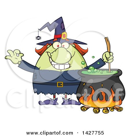 Clipart of a Cartoon Fat Green Witch Gesturing Okay or Perfect and Stirring a Cauldron - Royalty Free Vector Illustration by Hit Toon