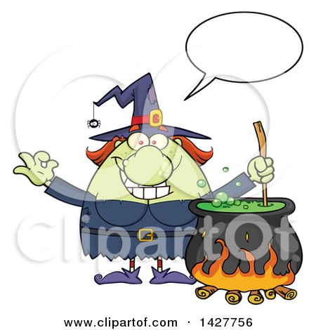 Clipart of a Cartoon Fat Green Witch Talking, Gesturing Okay or Perfect and Stirring a Cauldron - Royalty Free Vector Illustration by Hit Toon