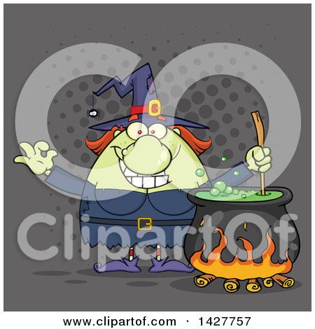 Clipart of a Cartoon Fat Green Witch Gesturing Okay or Perfect and Stirring a Cauldron over Gray Halftone - Royalty Free Vector Illustration by Hit Toon