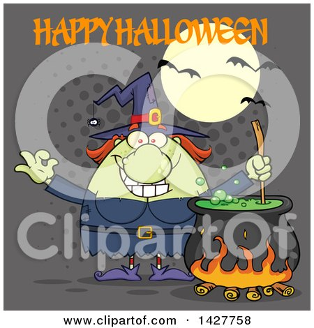Clipart of a Cartoon Fat Green Witch Gesturing Okay or Perfect and Stirring a Cauldron with Happy Halloween Text over Gray Halftone - Royalty Free Vector Illustration by Hit Toon