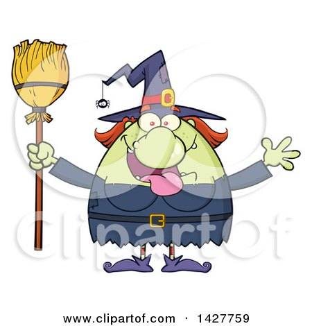 Clipart of a Cartoon Fat Green Witch Welcoming with Open Arms and Holding a Broom - Royalty Free Vector Illustration by Hit Toon