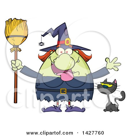 Clipart of a Cartoon Fat Green Witch Welcoming with Open Arms and Holding a Broom by a Cat - Royalty Free Vector Illustration by Hit Toon