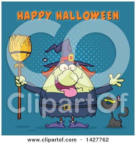 Clipart of a Cartoon Fat Green Witch Welcoming with Open Arms and Holding a Broom by a Cat with Happy Halloween Text over Blue Halftone - Royalty Free Vector Illustration by Hit Toon