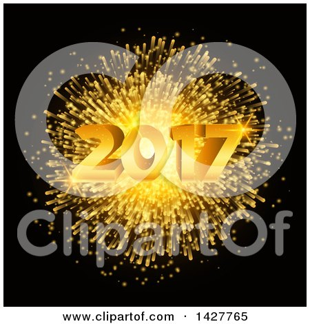 Clipart of a New Year 2017 Design with a Gold Fireworks Burst on Black - Royalty Free Vector Illustration by KJ Pargeter
