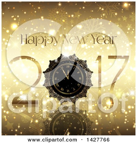 Clipart of a Golden Happy New Year 2017 Design with a Clock on Gold Stars and Snowflakes - Royalty Free Vector Illustration by KJ Pargeter