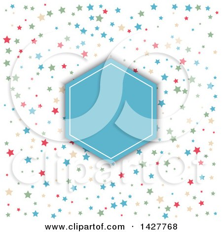 Clipart of a Blue and White Diamond Frame over a Pattern of Colorful Stars - Royalty Free Vector Illustration by KJ Pargeter