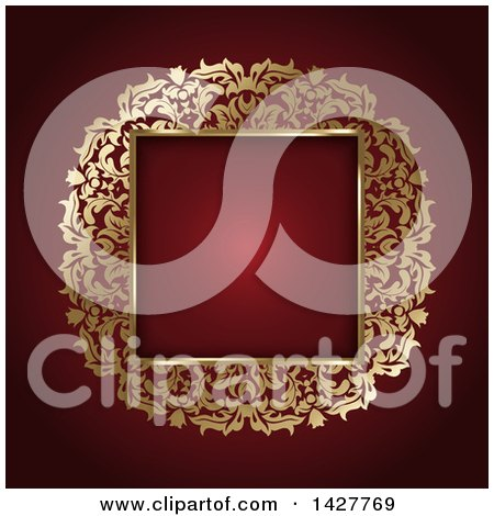 Clipart of a Gold Ornate Square Frame over Red - Royalty Free Vector Illustration by KJ Pargeter