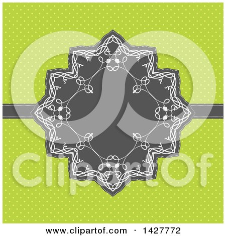 Clipart of a Gray and White Frame over Green Polka Dots - Royalty Free Vector Illustration by KJ Pargeter