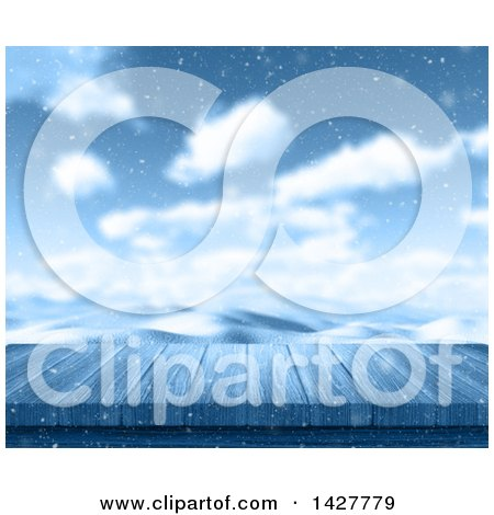Clipart of a 3d Wood Deck or Table Against a Snowy Winter Landscape - Royalty Free Illustration by KJ Pargeter