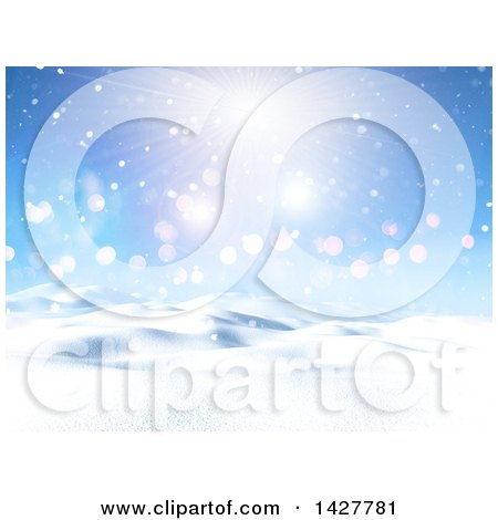 Clipart of a 3d Hilly Winter Landscape with Snow and a Sunny Sky - Royalty Free Illustration by KJ Pargeter