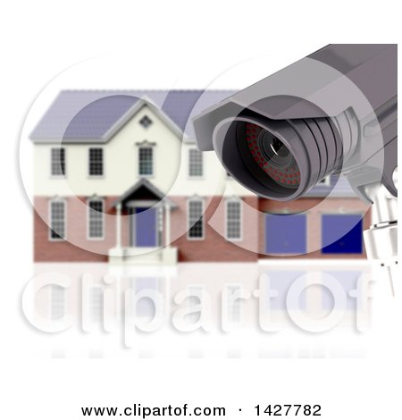 Clipart of a 3d CCTV Surveillance Camera and Blurred House on White - Royalty Free Illustration by KJ Pargeter