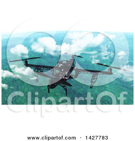 Clipart of a 3d Metal Quadcopter Drone Flying Above the Clouds over a Landscape - Royalty Free Illustration by KJ Pargeter