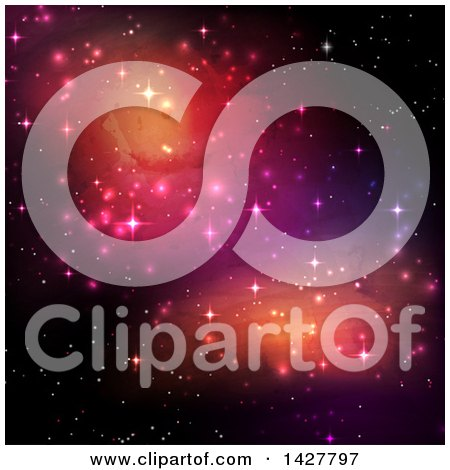 Clipart of a Background of Colorgul Galaxies and Sparkly Stars in the Night Sky - Royalty Free Vector Illustration by KJ Pargeter
