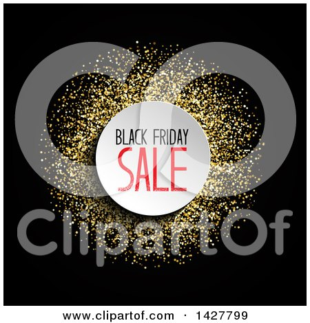 Clipart of a Black Friday Sale Design with Gold Glitter on Black - Royalty Free Vector Illustration by KJ Pargeter