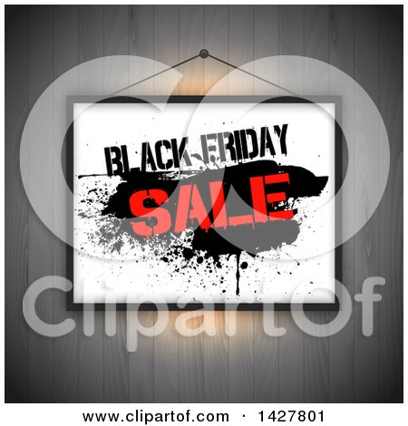 Clipart of a Hanging Black Friday Sale Sign over Wood - Royalty Free Vector Illustration by KJ Pargeter