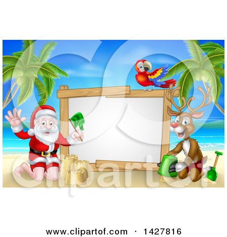 Clipart of a Happy Rudolph Red Nosed Reindeer and Santa Making Sand Castles on a Tropical Beach by a Blank Sign with a Parrot - Royalty Free Vector Illustration by AtStockIllustration