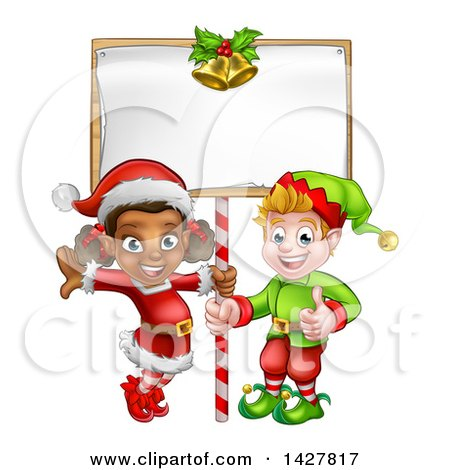Clipart of Happy Christmas Elves Under a Blank Sign - Royalty Free Vector Illustration by AtStockIllustration