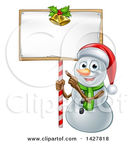 Clipart of a Happy Christmas Snowman Wearing a Santa Hat and Pointing to a Blank Sign - Royalty Free Vector Illustration by AtStockIllustration