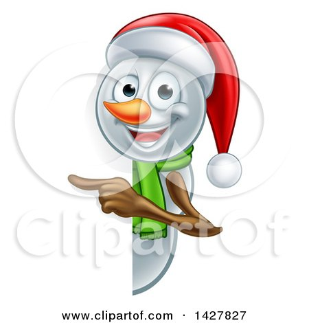 Clipart of a Happy Snowman Wearing a Christmas Santa Hat and Pointing Around a Sign - Royalty Free Vector Illustration by AtStockIllustration