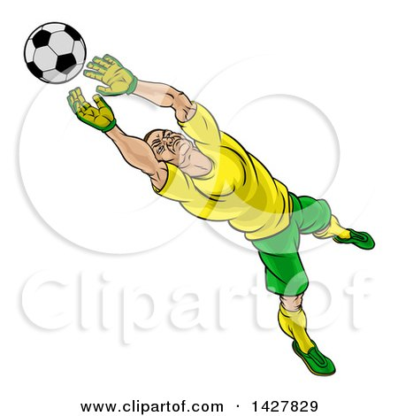 Clipart of a Cartoon Male Goal Keeper Soccer Player in a Green and Yellow Uniform, Sacing a Goal - Royalty Free Vector Illustration by AtStockIllustration