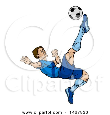 Clipart of a Cartoon Male Soccer Player in a Blue Uniform, Kicking a Ball in Mid Air - Royalty Free Vector Illustration by AtStockIllustration