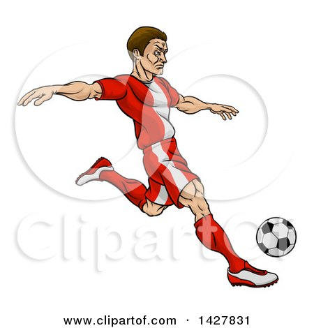 Clipart of a Cartoon Male Soccer Player in a Red Uniform, Kicking a Ball - Royalty Free Vector Illustration by AtStockIllustration