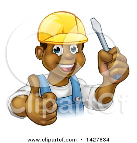 Clipart of a Cartoon Happy Black Male Electrician Wearing a Hardhat, Giving a Thumb Up, and Holding a Screwdriver - Royalty Free Vector Illustration by AtStockIllustration