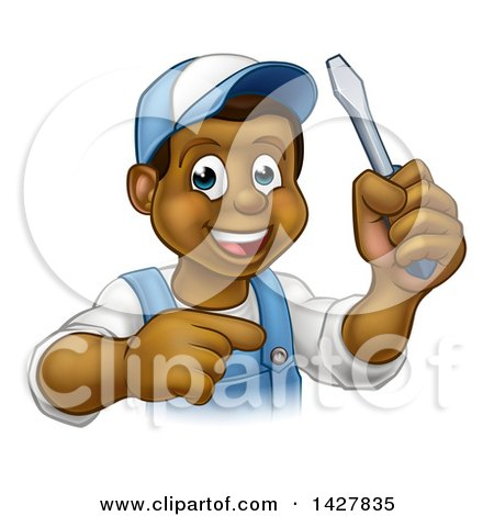 Clipart of a Cartoon Happy Black Male Electrician Holding up a Screwdriver and Pointing - Royalty Free Vector Illustration by AtStockIllustration