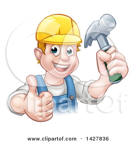 Cartoon Happy White Male Carpenter Holding a Hammer and Giving a Thumb up Posters, Art Prints