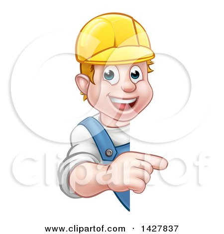 Cartoon Happy White Male Worker Pointing Around a Sign Posters, Art Prints