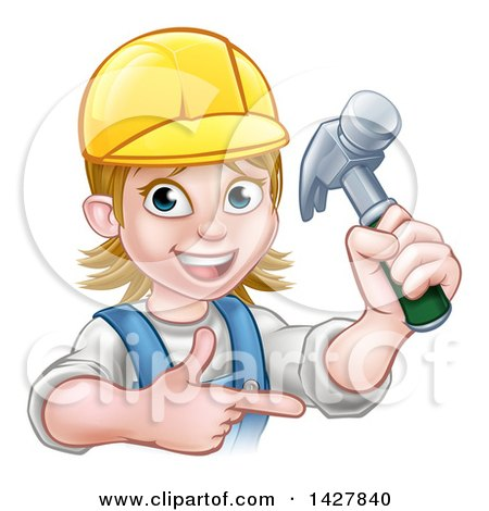 Cartoon Happy White Female Carpenter Holding up a Hammer and Pointing Posters, Art Prints