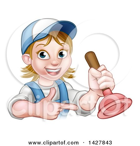 Cartoon Happy White Female Plumber Holding a Plunger and Pointing Posters, Art Prints