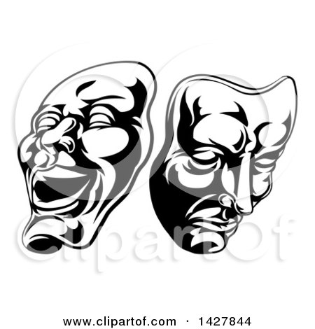Clipart of Black and White Comedy and Tragedy Theater Masks - Royalty Free Vector Illustration by AtStockIllustration