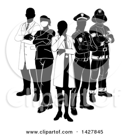 Clipart of a Team of Silhouetted Emergency and Rescue Workers - Royalty Free Vector Illustration by AtStockIllustration