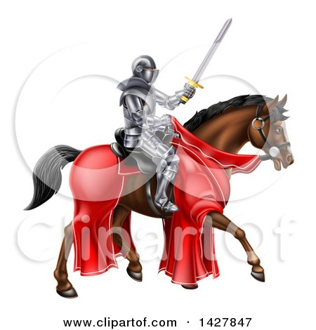 Clipart of a 3d Full Armored Medieval Knight on a Brown Horse, Holding a Sword - Royalty Free Vector Illustration by AtStockIllustration