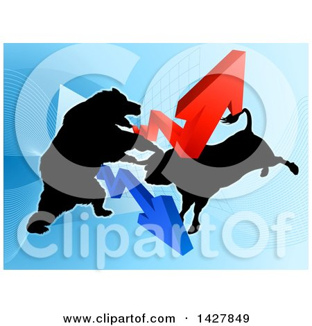 Clipart of a Silhouetted Fighting Bear Vs Bull Stock Market Design with Arrows over a Graph - Royalty Free Vector Illustration by AtStockIllustration