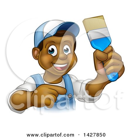 Clipart of a Cartoon Happy Black Male Painter Holding up a Brush and Pointing - Royalty Free Vector Illustration by AtStockIllustration
