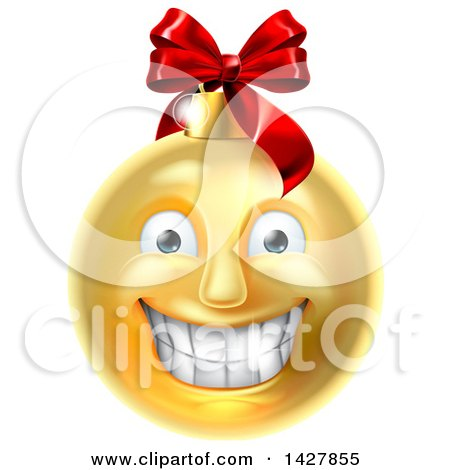 Clipart of a Grinning Golden Christmas Bauble Ornament Emoji - Royalty Free Vector Illustration by AtStockIllustration