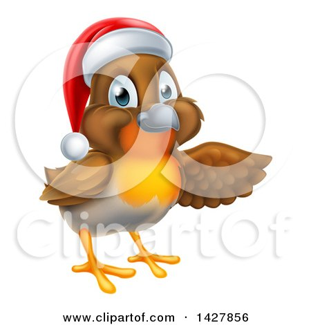 Clipart of a Christmas Robin in a Santa Hat, Pointing to the Right - Royalty Free Vector Illustration by AtStockIllustration