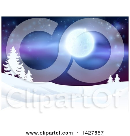 Clipart of a Christmas Background of a Snowy Winter Landscape with Silhouetted Evergreen Trees and a Full Moon in a Starry Sky - Royalty Free Vector Illustration by AtStockIllustration