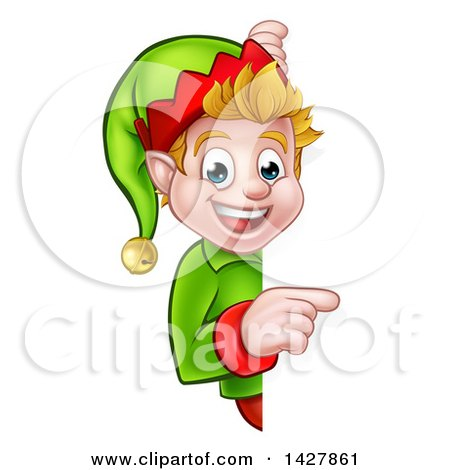 Clipart of a Happy Caucasian Male Christmas Elf Pointing Around a Sign - Royalty Free Vector Illustration by AtStockIllustration